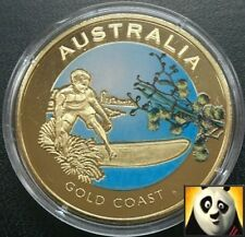 2010 AUSTRALIA 40mm Gold Coast Bronze Coloured Coin Medal Only 10,000! + COA