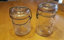 Vintage DOUBLE SAFETY & ATLASE-Z SEAL Wire Bail PINT MASON Canning Jar/spice jar