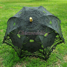 Flower Girl Kids Parasol Wedding Shower Battenburg Black Cotton Lace Umbrella