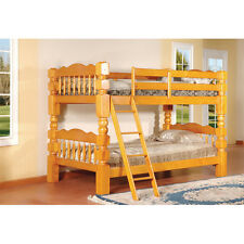 "Honey Oak Finish Wood 4½"" Posts Twin Size Convertible Bunk Bed (Bunkbed) ~ New ~"