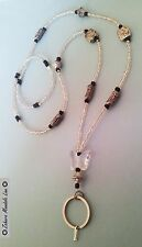Clear Butterfly & Black ID Badge Holder HANDMADE, Beads Lanyard Fashion Necklace