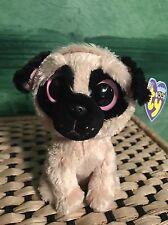 Ty PUGSLY -Beige/Black Pug Dog Beanie Boo! *Retired* VHTF!