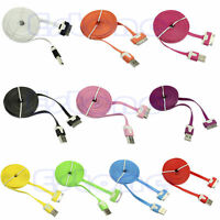USB Sync Data Charging Flat Noodle Charger Cable Cord For Apple iPhone 4 4S 4G