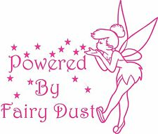 Tinkerbell Style Fairy Decal Sticker 'Powered by Fairy Dust' (Indoor/Outdoor)