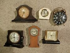 (2) Antique lot of 6 wind up clocks for Parts/Repair