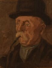 JACOB MEYER 1895-1971, Oil painting on canvas, portrait of older man with pipe