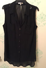NWOT Jennifer Lopez Chiffon Blouse / Button Up Sleeveless Tank Top Shirt XL