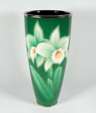 STRIKING VINTAGE SIGNED ANDO JAPANESE CLOISONNE VASE GREEN W/ DAFFODILS 8 3/8""