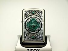 Rare Zippo Lighter - EMERALD CELTIC CROSS - Heavy plate detailed design ZIPPOS
