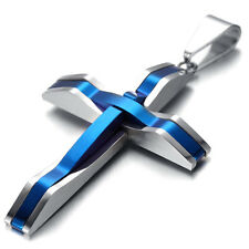 Mens Stainless Steel Pendant Necklace, Shiny Blue, Cross, KR170