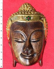 Thai Buddha Face Image - Wood - Carved Wooden Sculpture     BH009