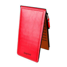 Women Men Wallet Leather Purse Ultra-thin Bifold Card Phone Holder Бумажник