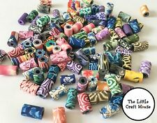 25 x Random Mix Handmade Polymer Clay Tube Beads 11mm x 7mm Bead Cylinder Craft