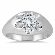 1 CARAT MEN'S D/VVs1 DIAMOND SOLITAIRE RING IN 14K WHITE GOLD OVER WEDDING RING