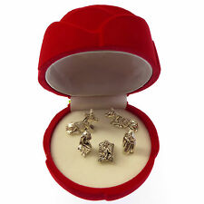 Pocket crib nativity scene in a red velvet rose gift box small 6cm Christian