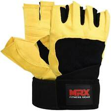 Weight Lifting Gloves Fitness Training Long Straps Gym Glove MRX Yellow/Black, L