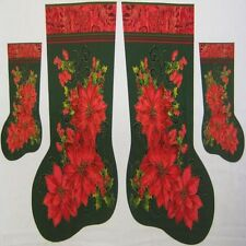Poinsettia Christmas Stocking Sack Fabric Panel (Green) - Large & Small