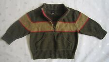 Baby GAP Boys Pullover Wool Blend Half Zip Sweater Olive Green Size 12-18 Months