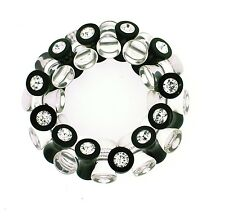 ZSISKA Stretch Flower bracelet with black and clear oval beads and crystals