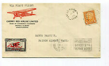 Canada 1929 Cherry Red Airline First Flight Cover Lac La Ronge to Prince Albert