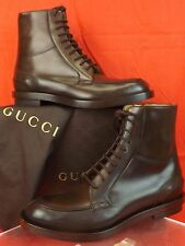 NIB GUCCI COCOA BETIS GLAMOUR LEATHER LACE UP ZIP COMBAT BOOTS 10.5 11.5 #325856