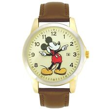 Disney MCK326 Mickey Mouse Unisex Gold Tone with Brown Leather strap Watch