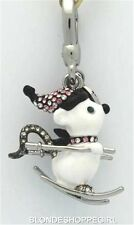NWT 2014 Juicy Couture White Ltd Ed PAVE SKI MOUSE CHARM Crystal in Leopard Box