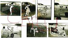 WWII 90TH BOMB GROUP B-24 BOMBERS NOSE ART LOT JOLLY ROGERS 5TH USAAF LOOK