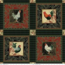 French Rooster cotton print  Panel Chickens 9 block panel Fabrics Riley Blake