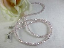 ROSE PETAL PINK Swarovski Bi-Cone Shaped Crystal Beaded Eyeglass Chain~Holder