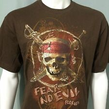 Disney Pirates Of The Caribbean Large T-Shirt Florida Fear No Evil Skull Sword