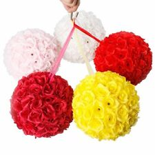10'' Wedding Party Home Decoration Flower Kissing Ball Silk Rose Pomander red