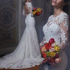 2016 New Mermaid White/ivory Wedding Dress Brides Gown Size 4 6 8 10 12 14 16 18