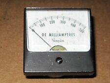 Simpson 0-500mA DC Panel  Meter  Tested