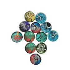 12PCs Snap Buttons Fit DIY Bracelets Tree of Life Theme Multicolor Mixed 18x10mm