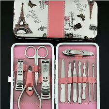 Nail Care 12PCS Cutter Cuticle Clipper Manicure Pedicure Kit Case Gift Set NIUK