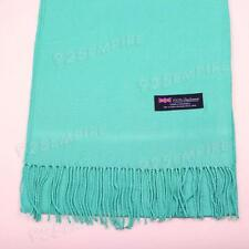 Women 100% CASHMERE Warm PLAIN Scarf pure solid Teal Wool MADE IN SCOTLAND