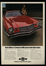 1974 CHEVROLET CAMARO Red Sports Car - Test Drive With Your 2 Eyes - VINTAGE AD