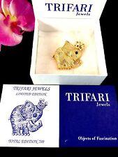 NIB LTD ED. 1997 TRIFARI ™ GOLD-TONE FAUX PEARL RHINESTONE CROWN ELEPHANT BROOCH