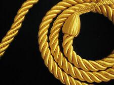2 Corda curtain tiebacks GIALLO ORO Slender Slinky Corde DRAPE laccio sul retro holdbacks