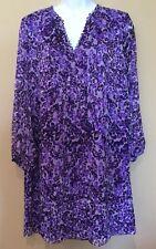 Diane von Furstenberg Aria Purple Floral Print Silk Shift Tunic Dress 10 NWT$398