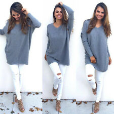 UK New Womens Long Sleeve Pullover Sweater Shirt Ladies Loose Blouse Jumper Tops