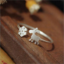 Snowflake Deer Design Ring Silver Opening Adjustable Finger Ring Gift Jewelry