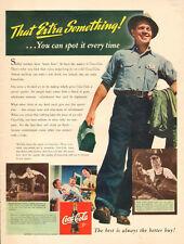 1942 WW2 era soft drink AD COCA COLA War Plant Worker w/ lunchbox  022016