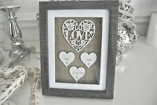 "Personalised "" Love"" Frame Hearts Gift Wedding Anniversary Keepsake"