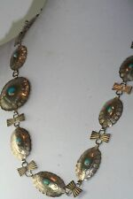 VINTAGE HAND MADE STERLING SILVER TURQUOISE CONCHO BELT 29 INCH