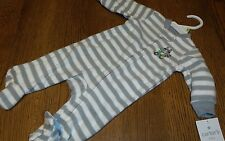 Carters Infant Footed Pajamas NWT Sleeper Raccoon Gray White Striped 3 Months