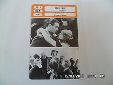 CARTE FICHE CINEMA 1933 BABY FACE Barbara Stanwyck George Brent Donald Cook