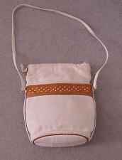 Vintage White Genuine LEATHER European Shoulder Bag Handbag Purse-EUC