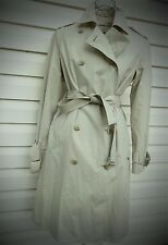NEW women's ANNE KLEIN AK fitted long trench tan fully lined jacket coat S 4 P